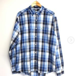 Lacoste Blue & White Checked Slim Fit Shirt